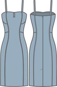 Выкройка платья на бретельках прилегающего силуэта