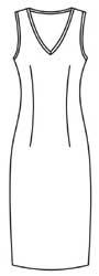 Выкройка трикотажного платья футляр без рукавов
