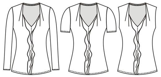 Выкройка блузки с оборкой на переде