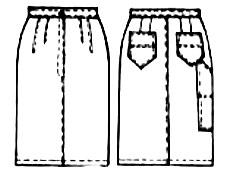 выкройки юбок: джинсовая юбка до колен