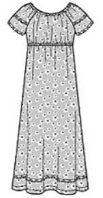 Выкройка ночной сорочки с короткими рукавами реглан - Все выкройки 02cc1ba768dbc