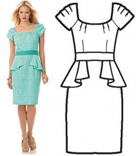 выкройка платья с баской
