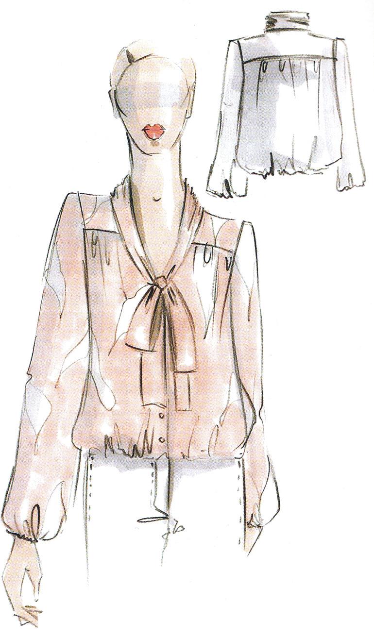 Выкройки юбок.  Женственная блузка с бантом 009.